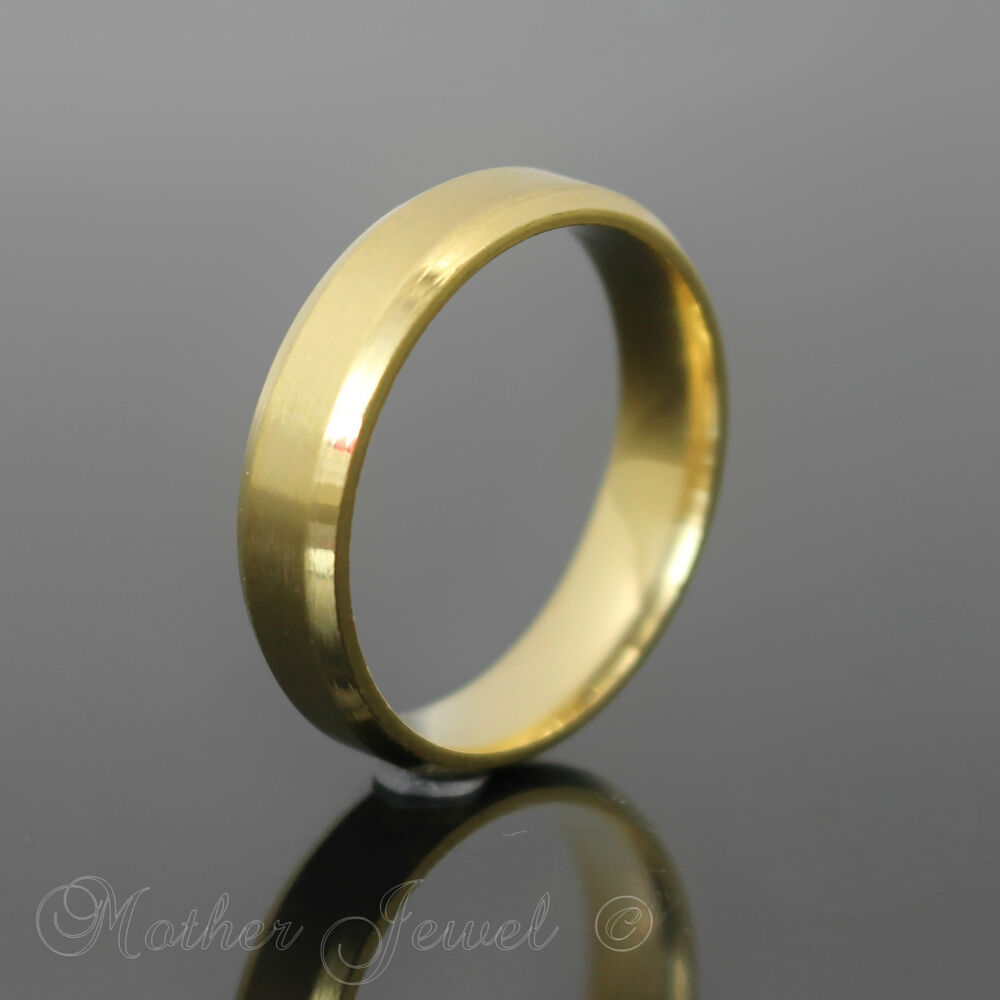 PLAIN GOLD STAINLESS STEEL WEDDING ANNIVERSARY 6MM THICK BAND MENS WOMENS RIN
