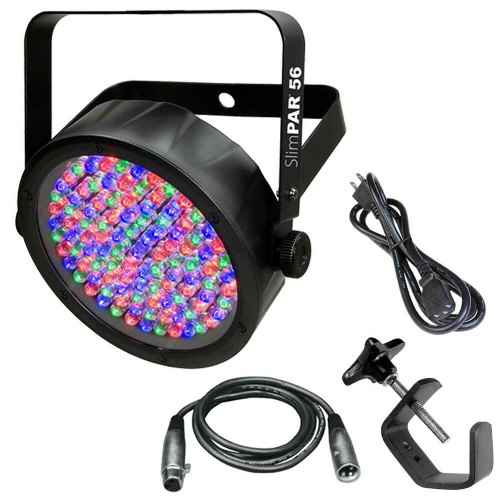 Led Wall Dj Light: Chauvet SlimPAR 56 LED Par Wall Wash Light And Cables And