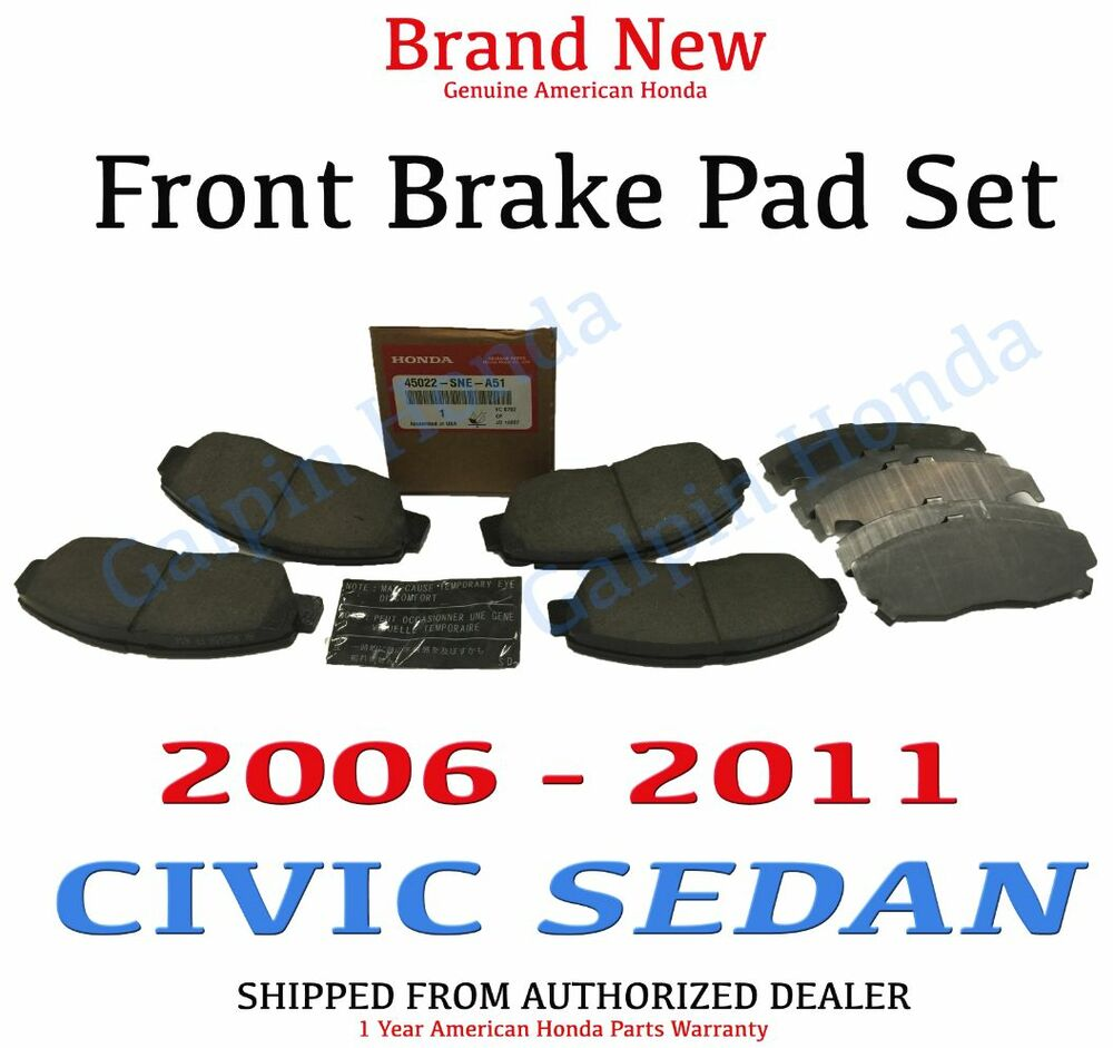 2006 2011 Honda Civic Sedan 4dr Genuine Factory Oem Front Brake Pad Set Ebay