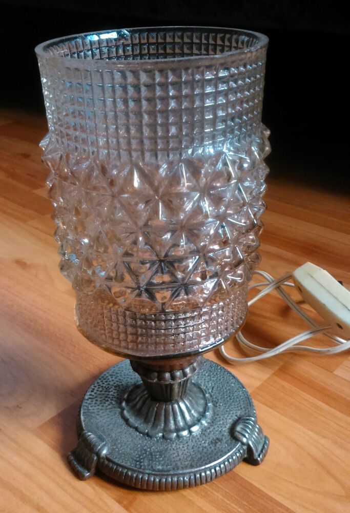 Old Romanian Vintage Table Lamp Lighting Home Decor Glass