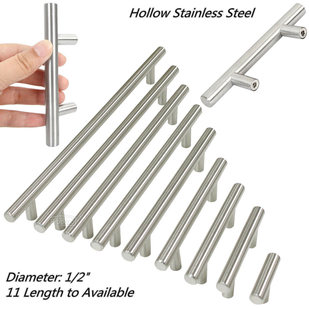 "Door Handles Kitchen Cabinets: ∅1/2""Brushed Stainless Steel T Bar Kitchen Cabinet Door"