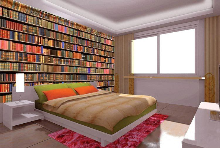 Bookshelf old library book grunge full wall mural photo for Book wallpaper for walls