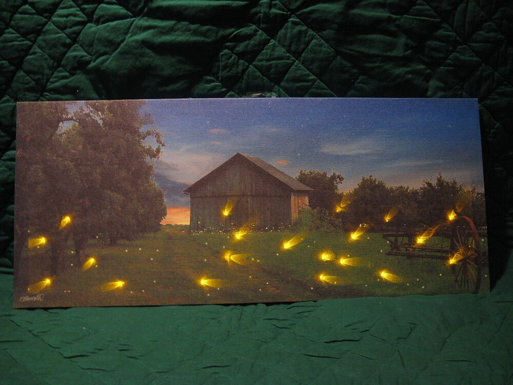 Lightening bugs farm lighted canvas wall decor sign new lights up beautiful ebay - Latest beautiful wall decoration ...