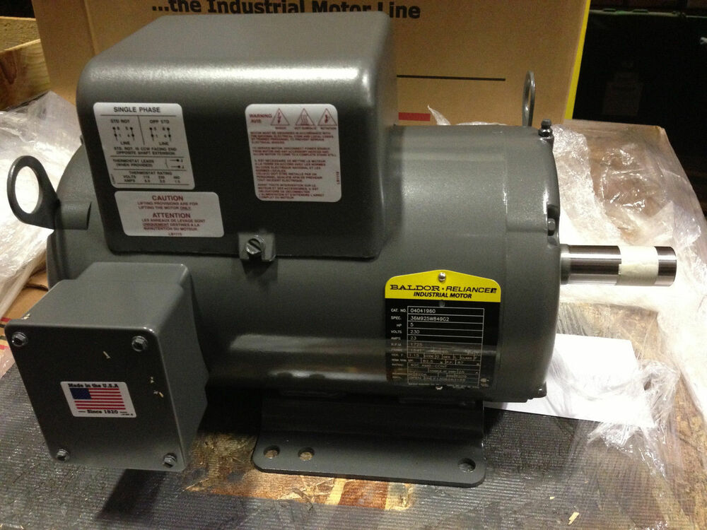 New baldor 5 hp 1 ph air comp elect motor 184t 230v same for 5hp air compressor motor single phase