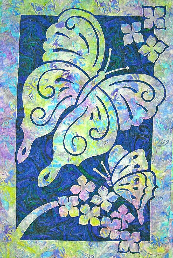 Quilt Patterns With Two Fabrics : Butterflies 2 Fabric Applique Pacific Rim Quilt Pattern eBay