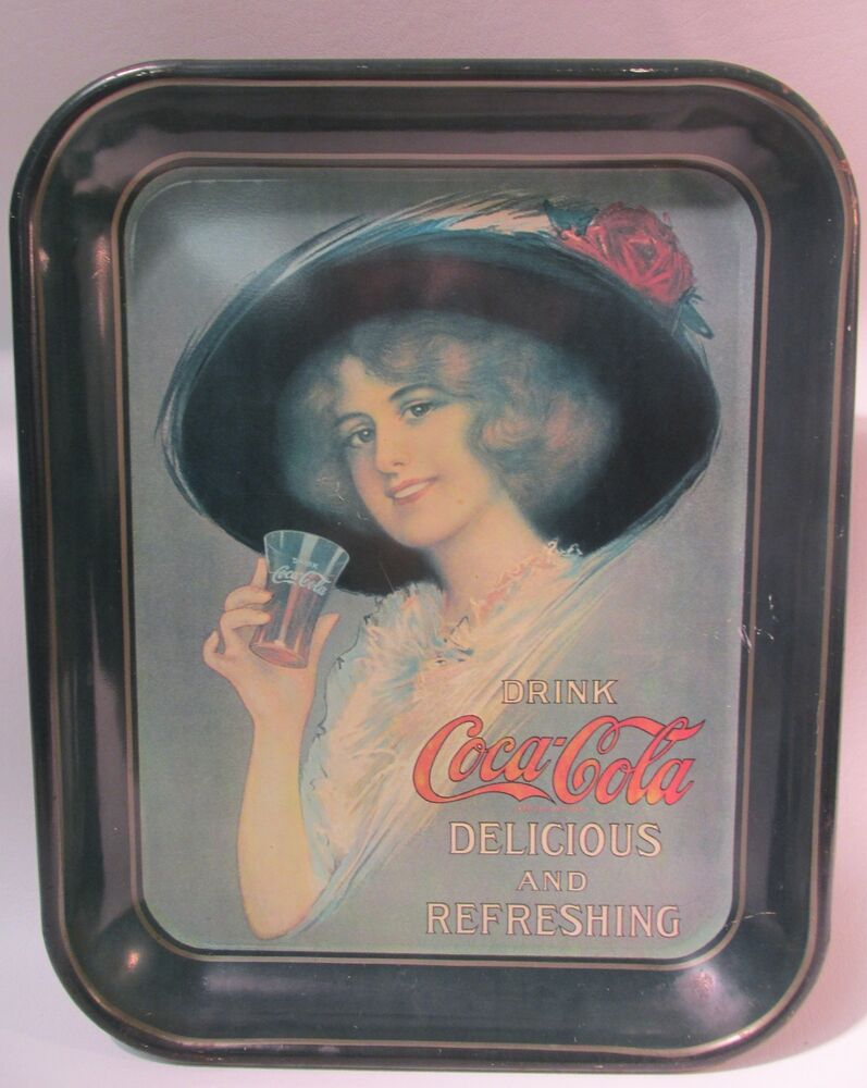1972 coca cola collector serving tray with 1912 hamilton king girl guc heavy ebay. Black Bedroom Furniture Sets. Home Design Ideas