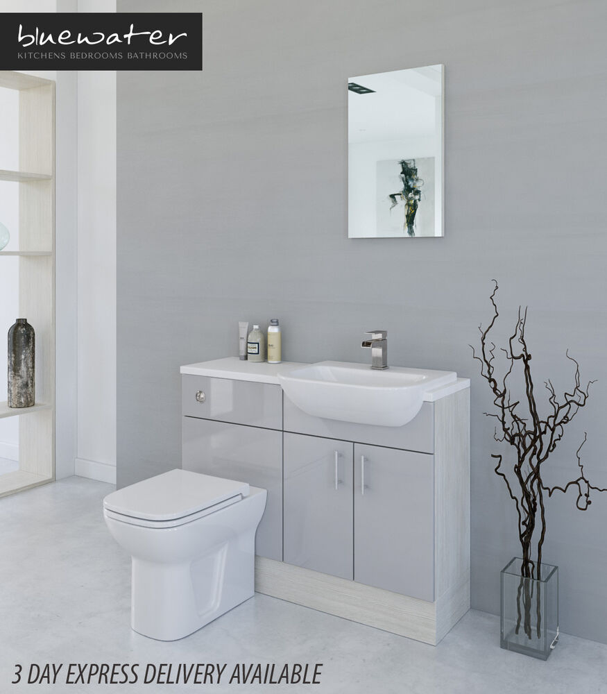 Light grey white avola bathroom fitted furniture 1100mm for White bathroom furniture