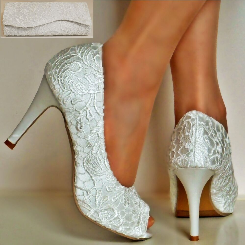 Ladies Ivory Satin Floral Lace High Heel Peep Toe Party