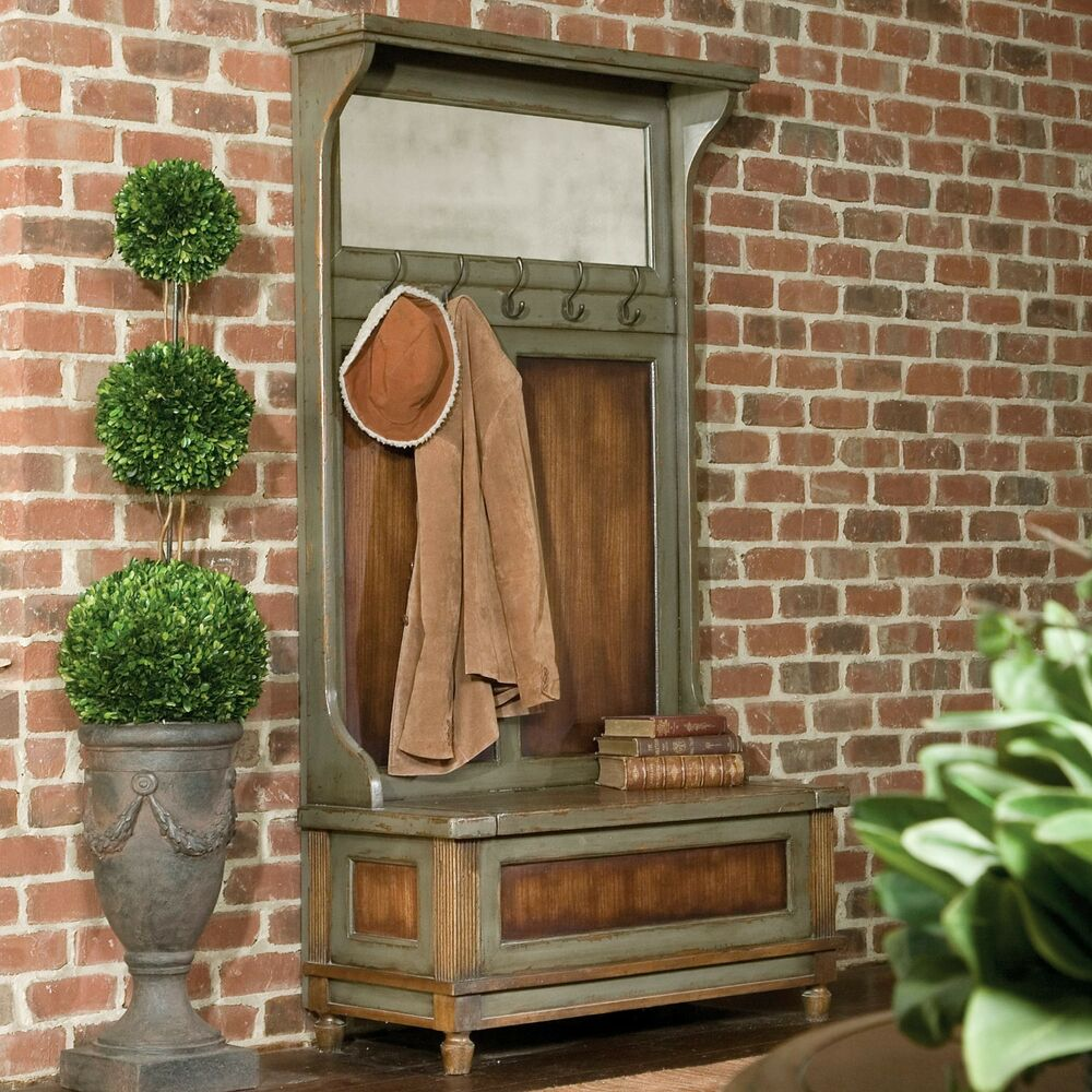 rustic solid mahogany wood hall tree coat rack storage bench antiqued mirror ebay. Black Bedroom Furniture Sets. Home Design Ideas