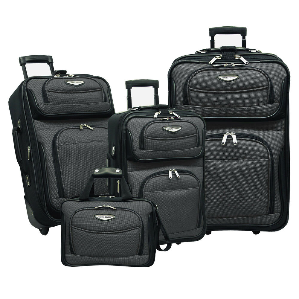 travel select amsterdam gray 4 piece expandable rolling luggage suitcase bag set 694396695010 ebay. Black Bedroom Furniture Sets. Home Design Ideas