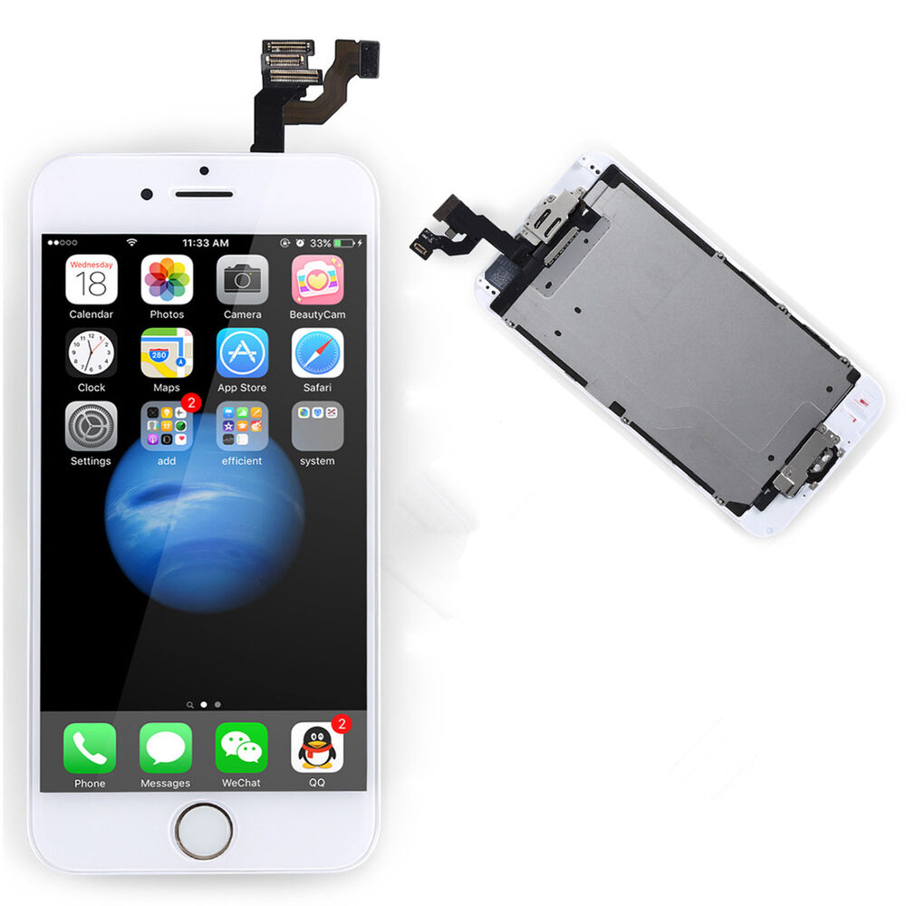 full lcd touch screen digitizer gold home button camera for apple iphone 6 4 7 ebay. Black Bedroom Furniture Sets. Home Design Ideas