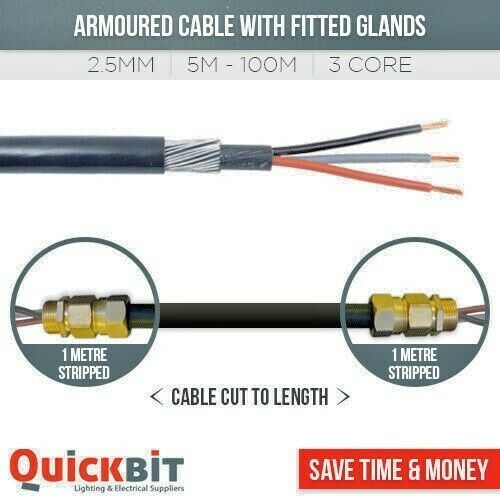 Armored Cable Wiring Building Codes : Core mm armoured cable fitted with glands cut to