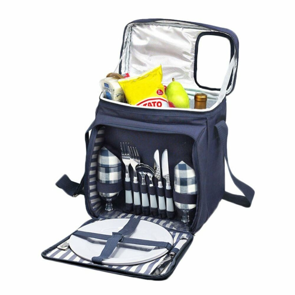 Picnic Basket Backpack Two : Insulated picnic basket set lunch tote backpack cooler w