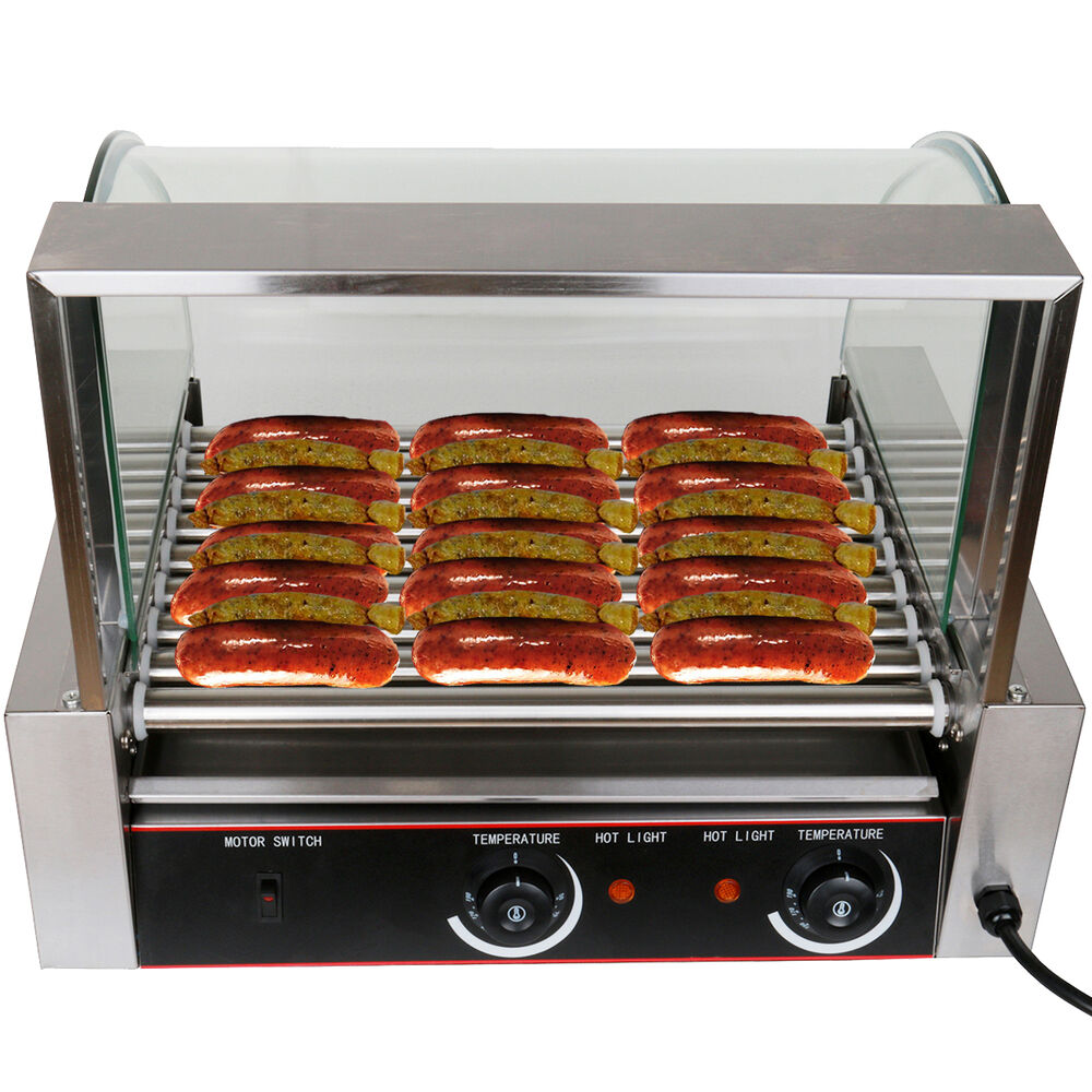 commercial 24 hot dog hotdog 9 roller grill cooker machine w cover ebay. Black Bedroom Furniture Sets. Home Design Ideas