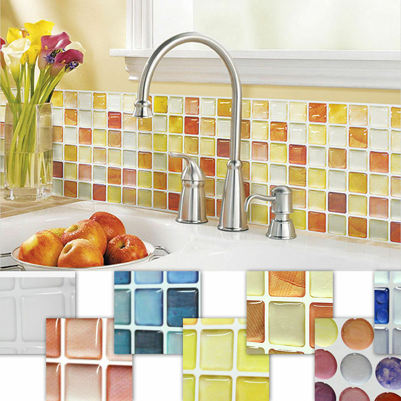 Home decor mosaic tile bathroom kitchen removable 3d for Home wallpaper ebay
