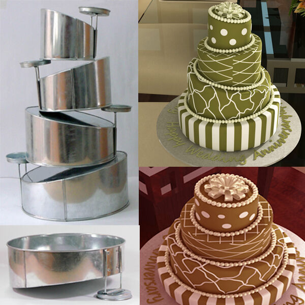 topsy turvy 4 tier round cake pans tins new design by eurotins 6 8
