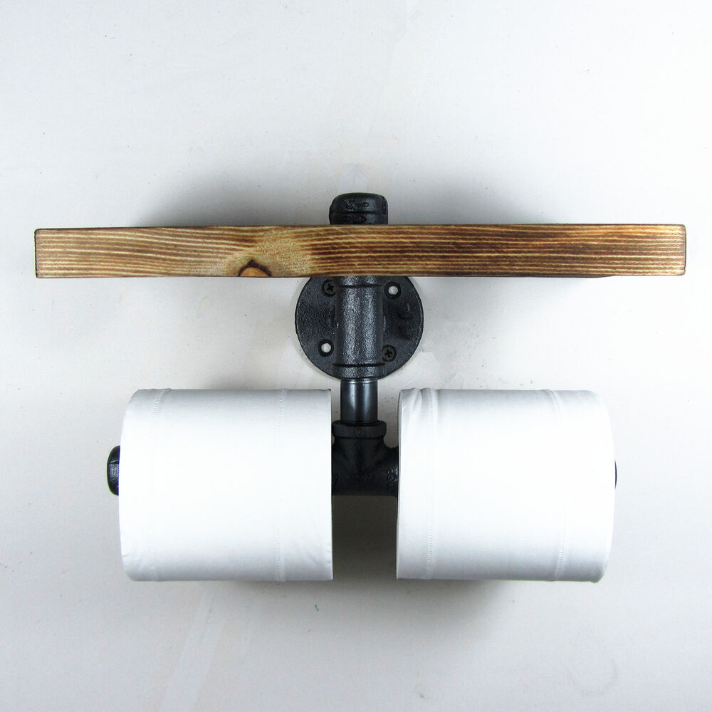 Industrial style iron pipe double toilet paper holder Wooden toilet paper spindle
