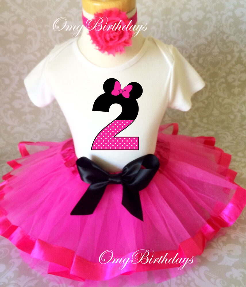Minnie Mouse Pink Black Dots 2nd Second Birthday Ribbon