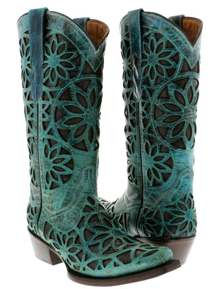 womens turquoise brown leather western cowboy