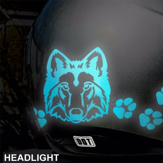 Hyper Reflective Wolf Head and Paws Motorcycle Helmet ...