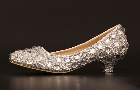 Wedding Heels With Rhinestones: Bling High Heel Crystal Wedding Shoes Rhinestone Low Heel