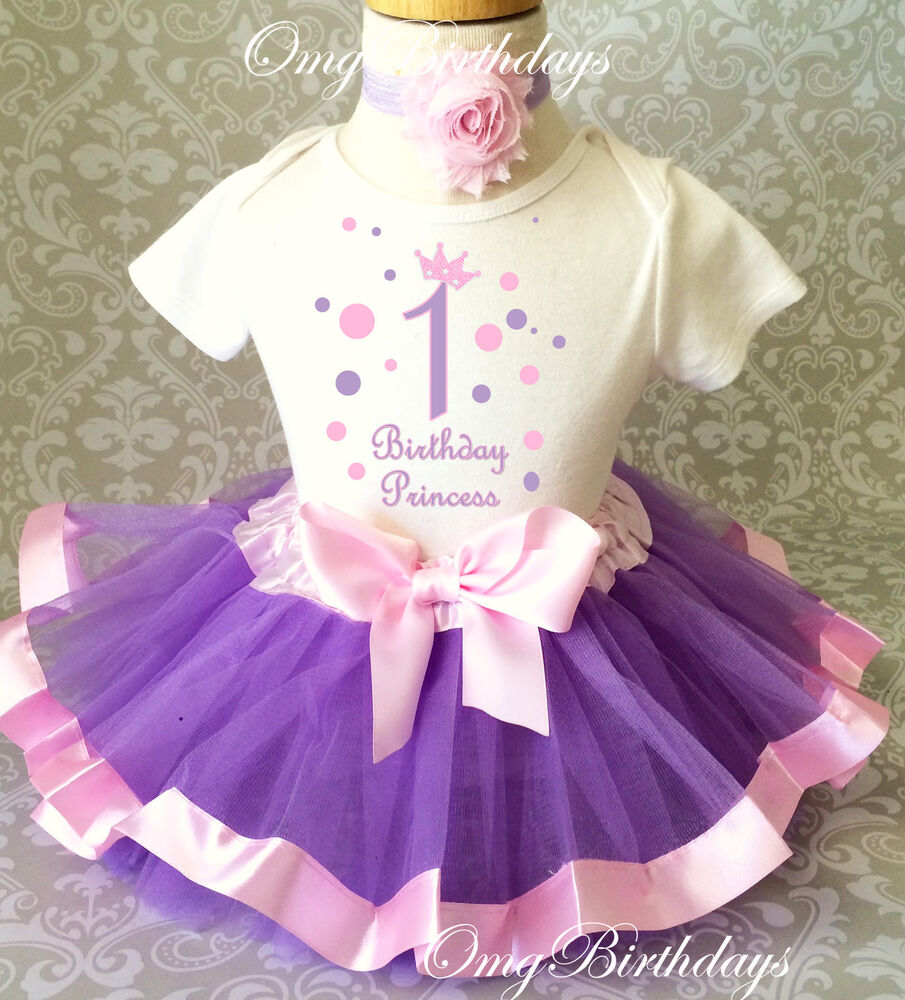 Birthday Party Outfit: Princess Lavender Pink Crown Baby Girl 1st First Birthday