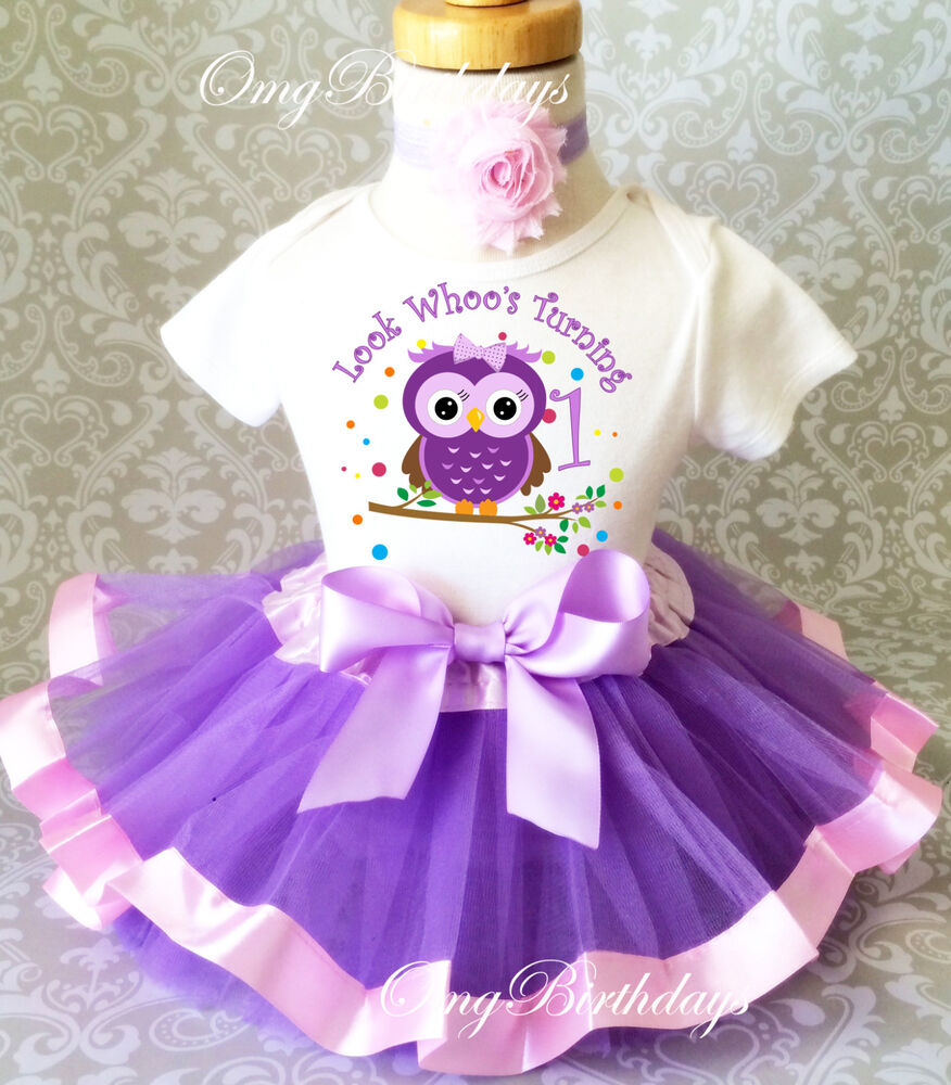 Birthday Party Outfit: Purple Owl Look WHOOS Whos 1 Baby Girl 1st First Birthday