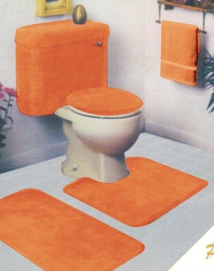 5 piece bathroom rug set ebay for Bathroom 5 piece set