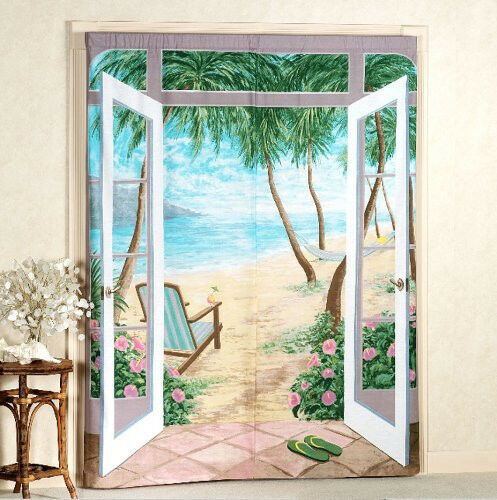 island breeze trompe l 39 oeil window art beach curtains drapes home decor scene ebay. Black Bedroom Furniture Sets. Home Design Ideas