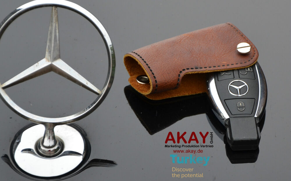 Premium leather case for mercedes key fob cover holder amg for Mercedes benz amg key fob back cover
