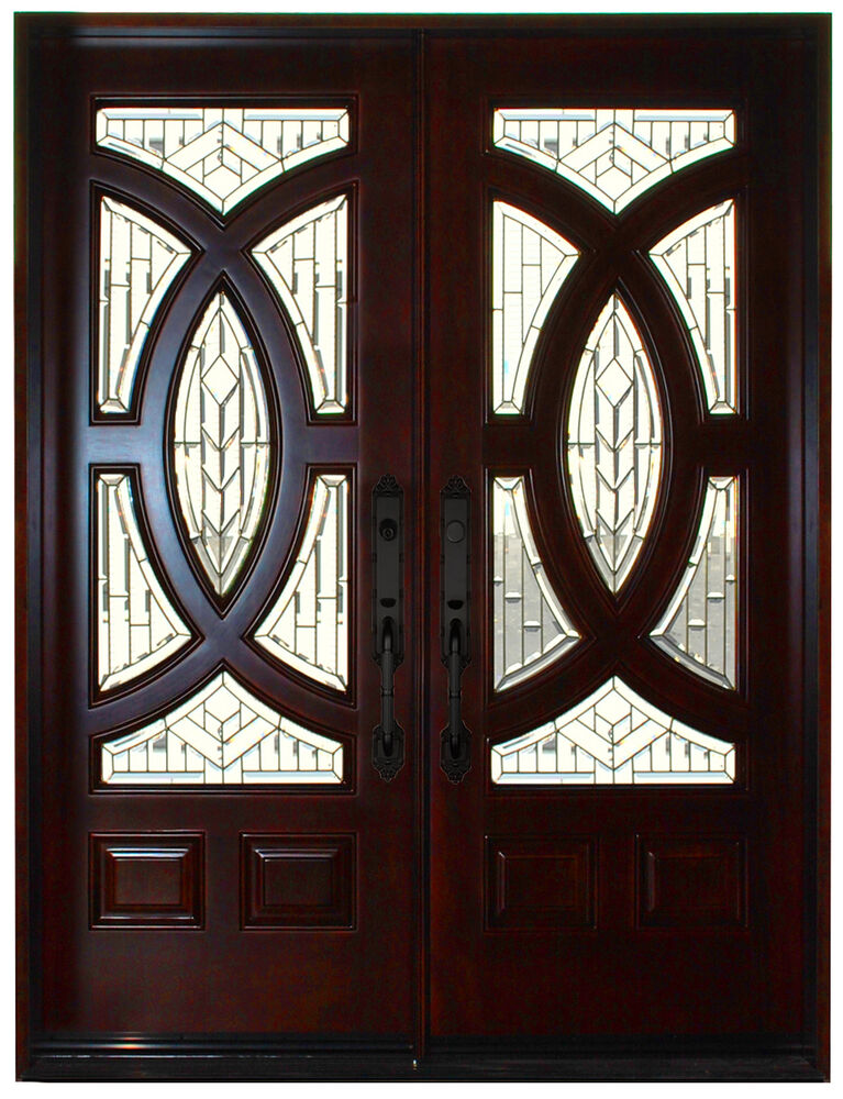 Mahogany Double Exterior Front Entry Wood Door 680A 30 X80 X2 Left