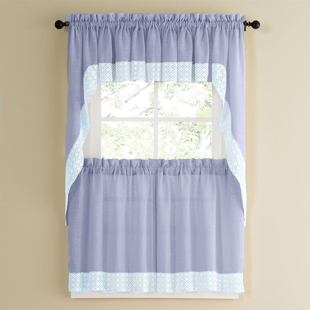 Linen Lorraine Home Fashions: Blue W/White Lace Trim