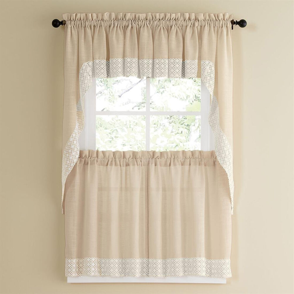 Kitchen Curtains And Valances: French Vanilla W/Lace Trim