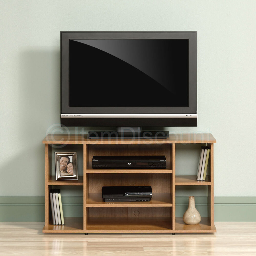 Quot oak wood tv stand media game console entertainment