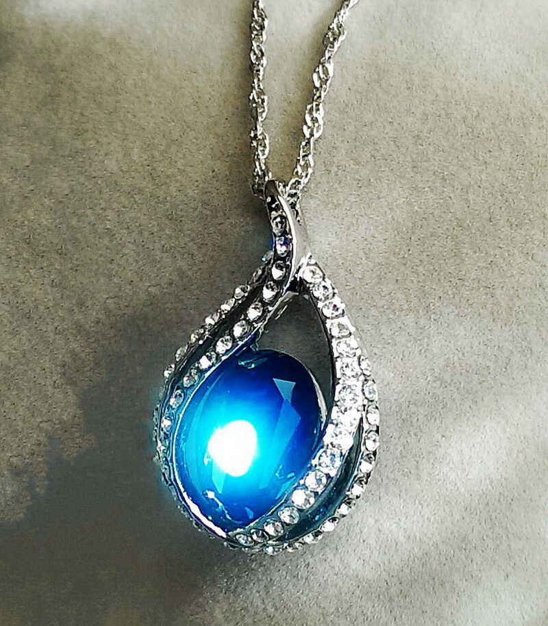 silver blue sapphire teardrop wedding necklace made with. Black Bedroom Furniture Sets. Home Design Ideas