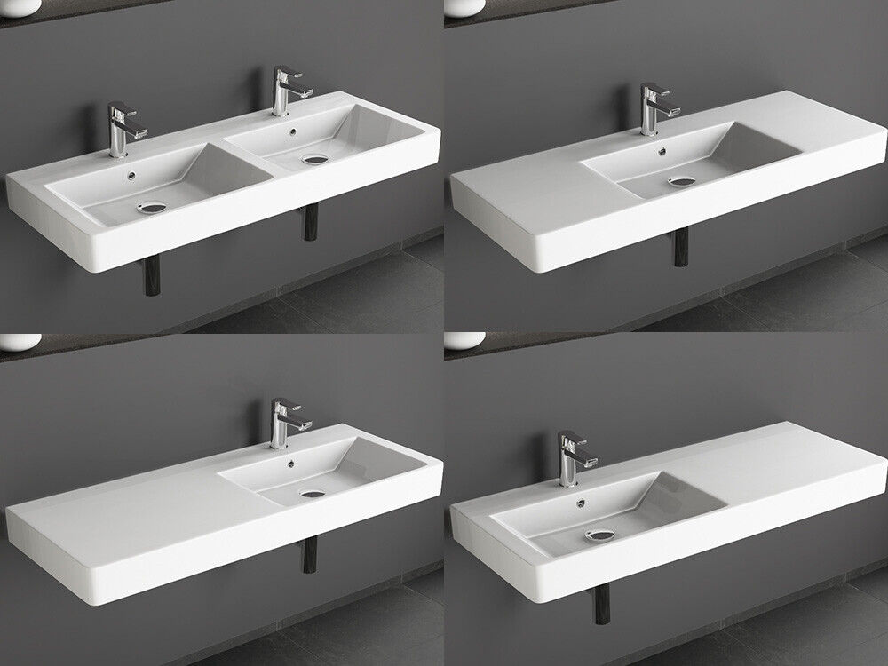 design keramik waschtisch 120 cm waschbecken doppelwaschbecken aqua bagno ebay. Black Bedroom Furniture Sets. Home Design Ideas