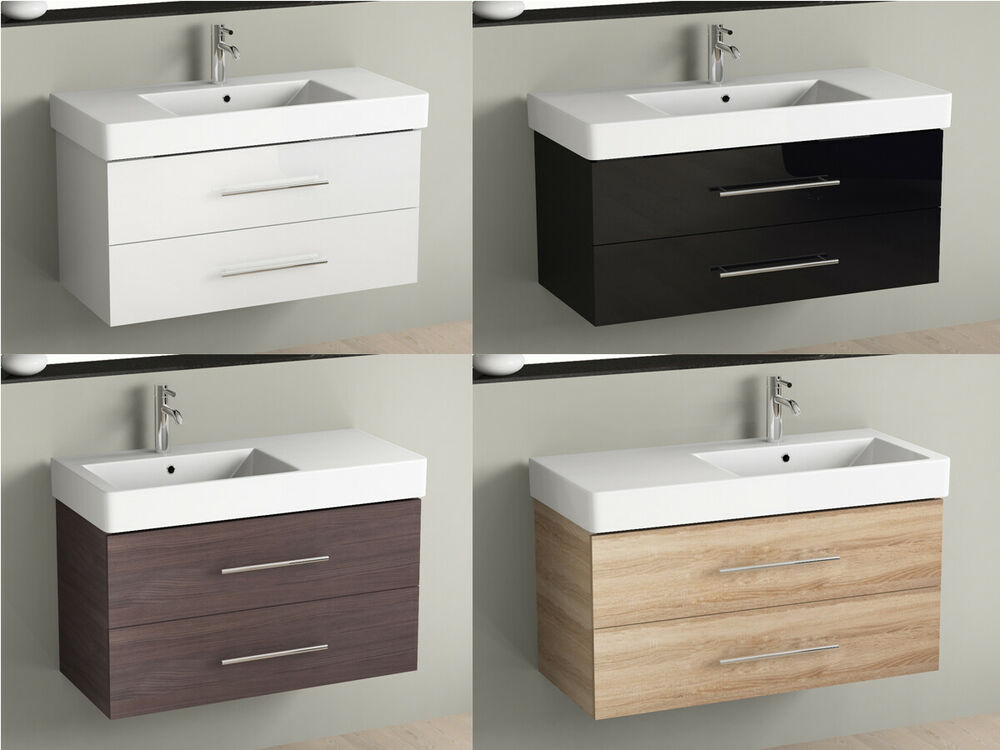 badm bel 100cm inkl keramik waschtisch und unterschrank waschbecken aqua bagno ebay. Black Bedroom Furniture Sets. Home Design Ideas