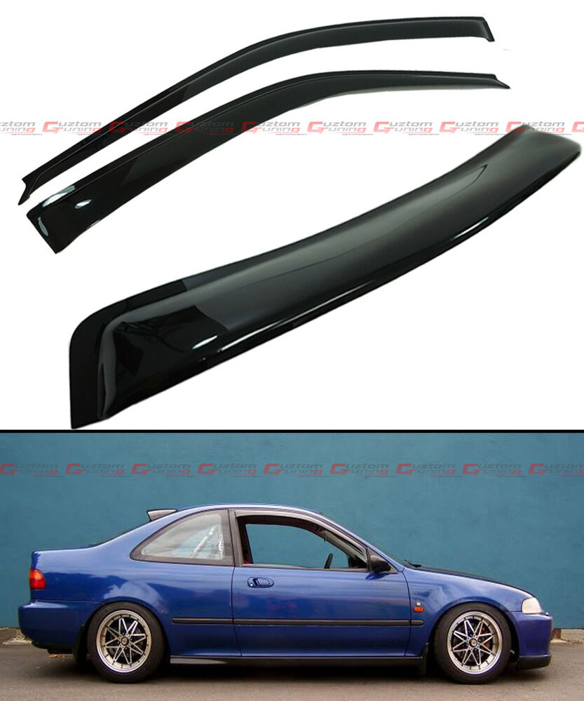 92 95 5th gen honda civic coupe ej1 ej2 smoke rear window visor door visors ebay. Black Bedroom Furniture Sets. Home Design Ideas