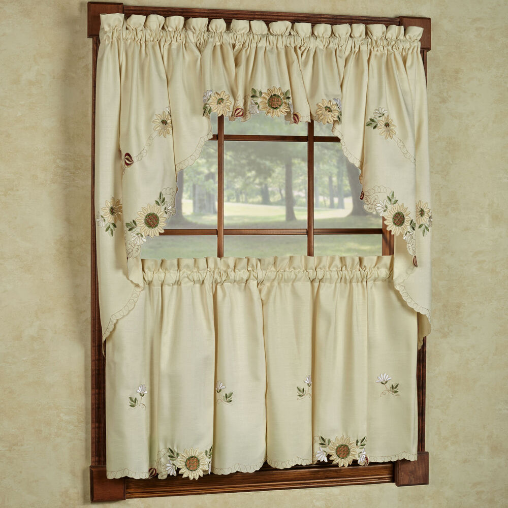 Sunflower cream embroidered kitchen curtains tiers for Valance curtains for kitchen