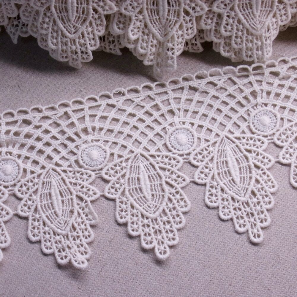 Antique Style Scalloped Embroidery Cotton Crochet Lace Trim 4.3u0026quot;(11cm) Wide 1Yd | EBay