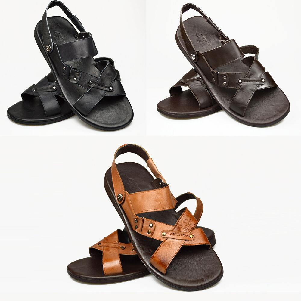 mens real leather sandals casual gladiator desert beach
