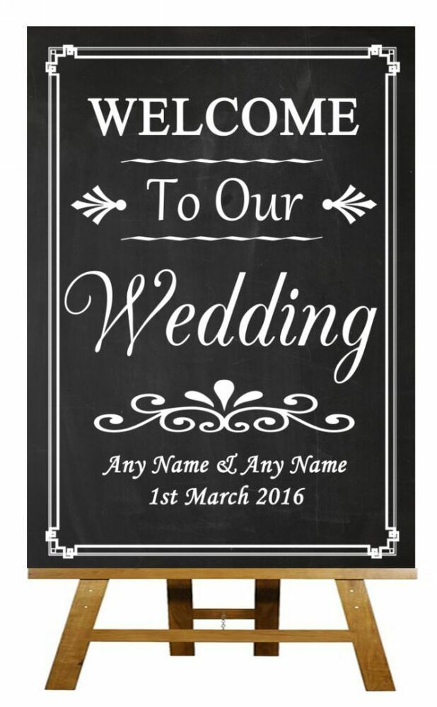 Chalkboard Welcome To Our Wedding Personalised Wedding
