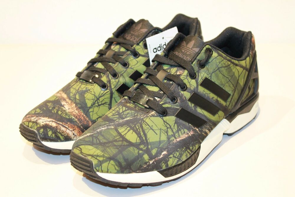 NWT ADIDAS ORIGINALS ZX FLUX CAMO CAMOUFLAGE REAL TREE SNEAKERS SHOES SIZE  8 9.5 | eBay