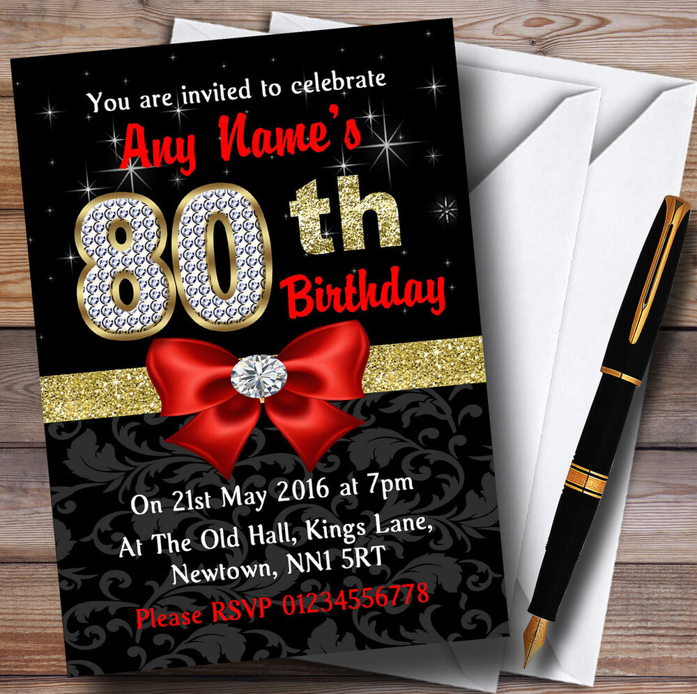 Details About Red Black Gold Diamond 80Th Birthday Party Personalised Invitations
