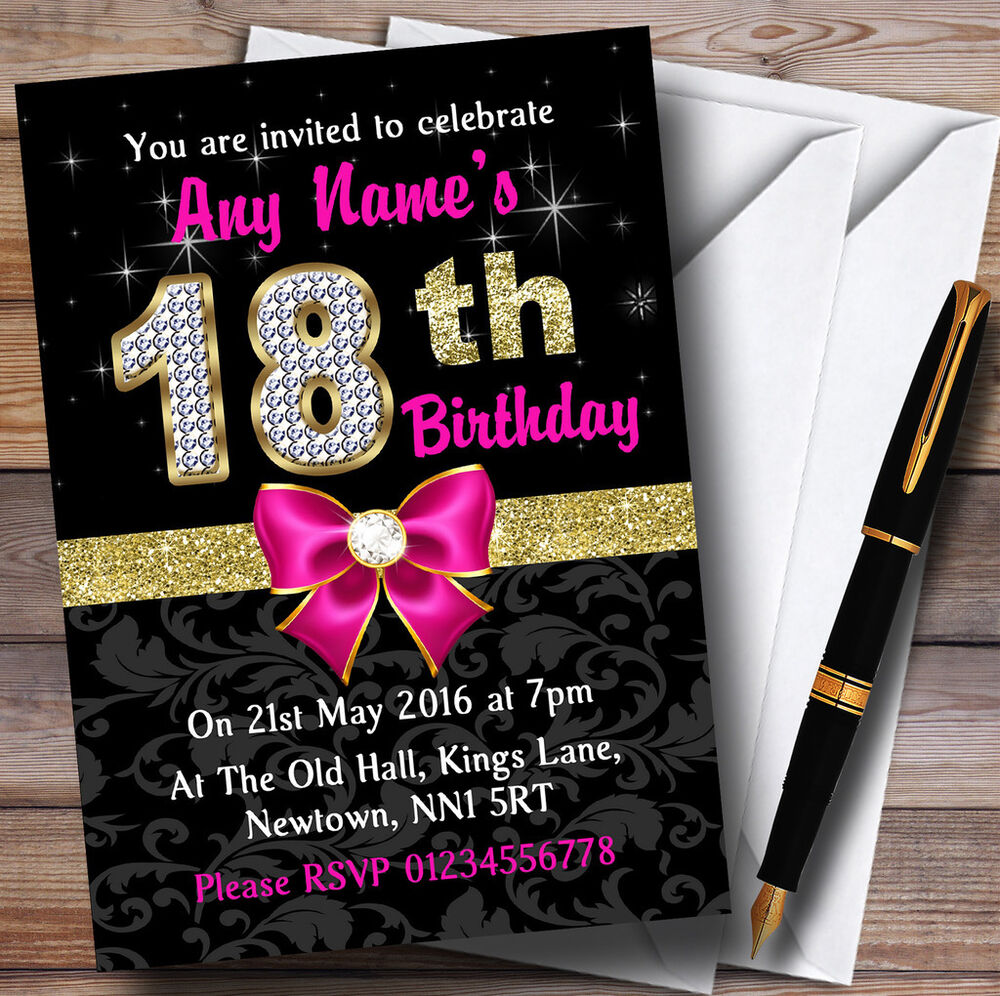 Pink Black Gold Diamond 18Th Birthday Party Personalised
