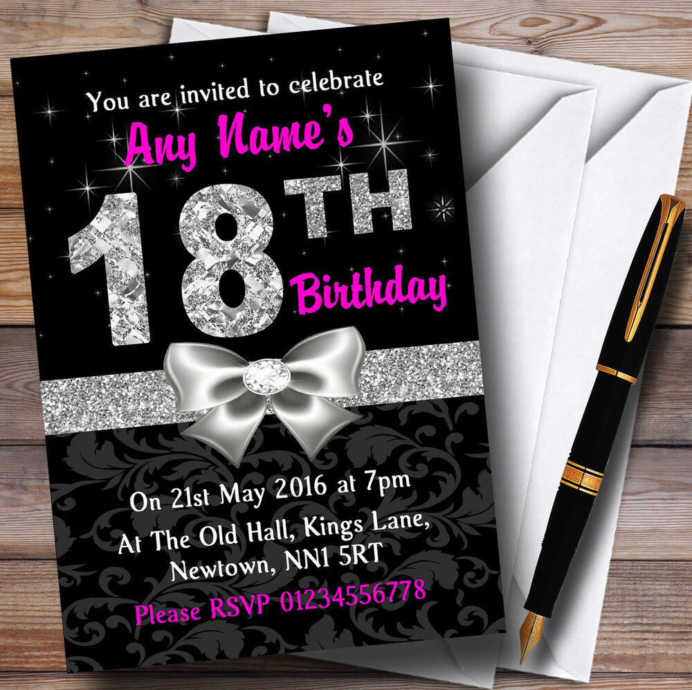 Pink Black Silver Diamond 18Th Birthday Party Personalised Invitations ...