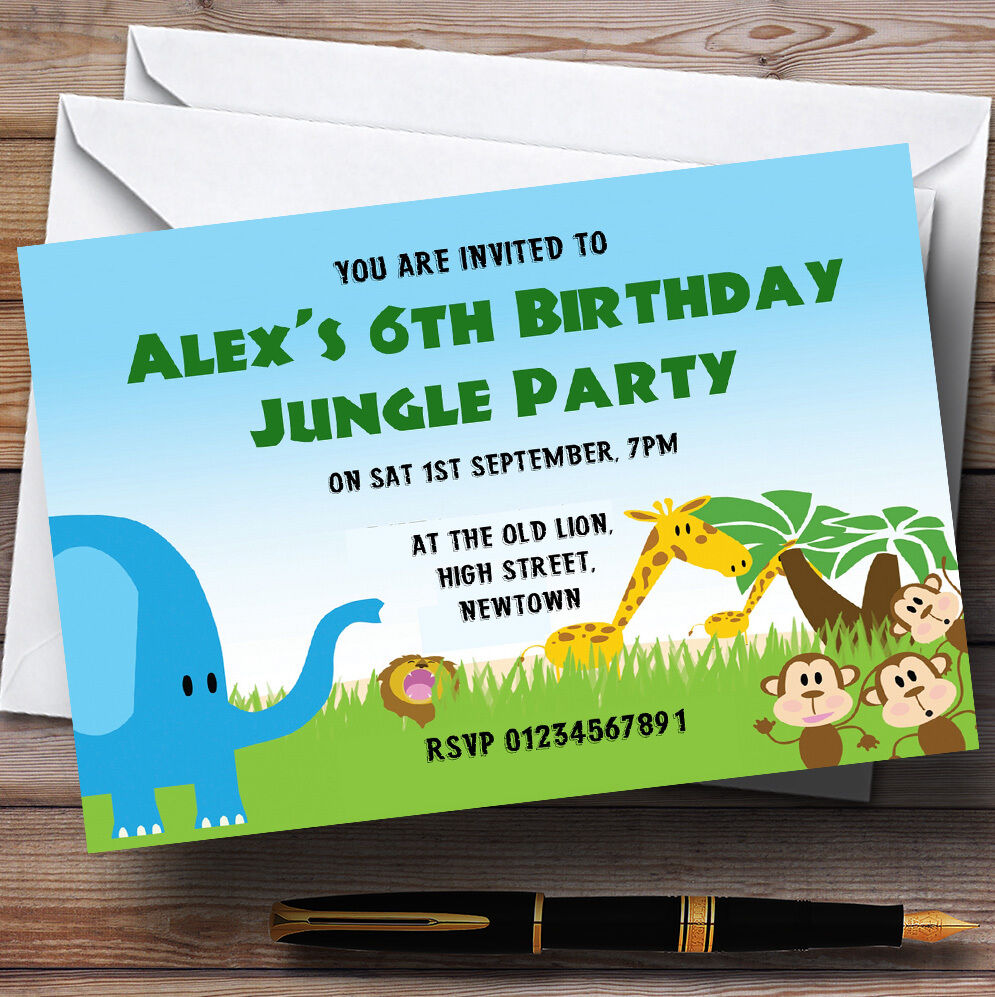 Details About Jungle Safari Animals Theme Personalised Birthday Party Invitations