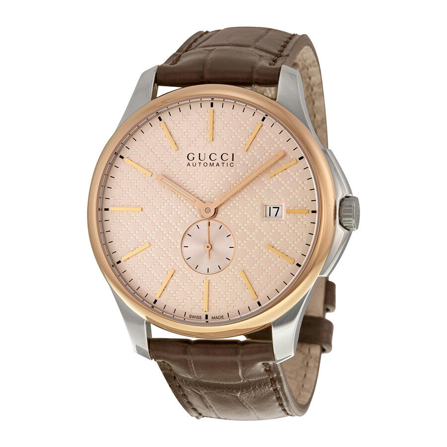 gucci g timeless large automatic rose gold tone dial mens. Black Bedroom Furniture Sets. Home Design Ideas