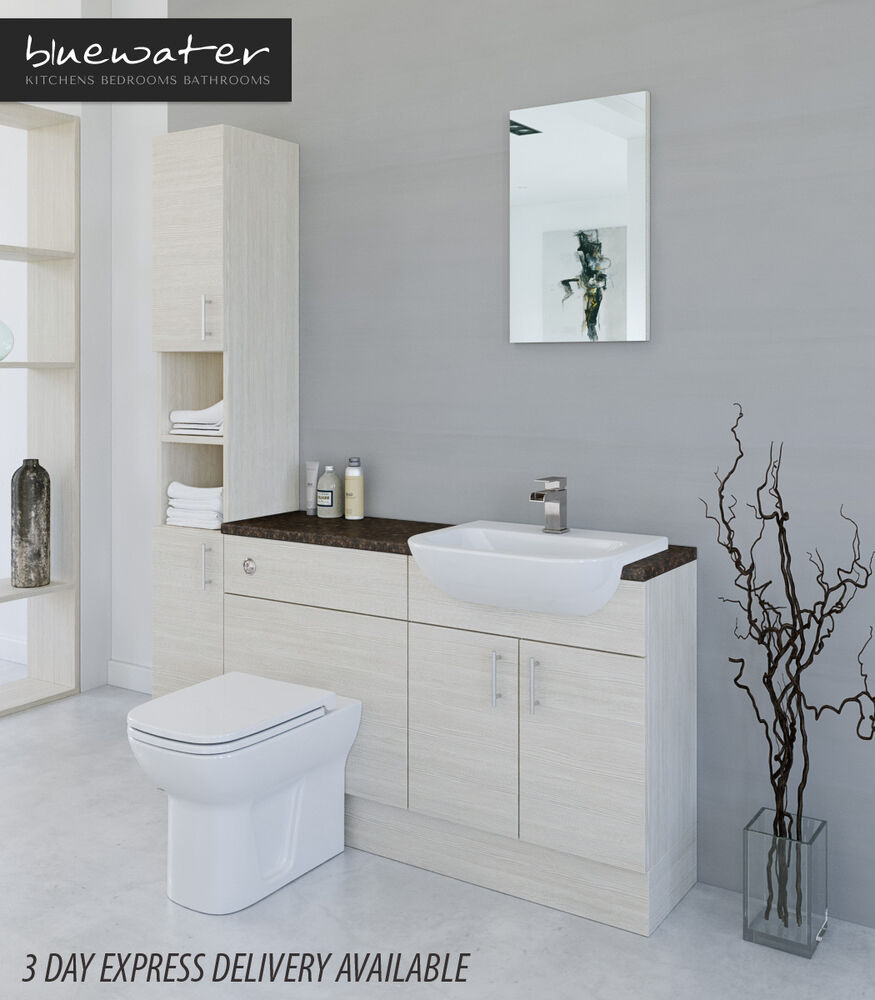 White avola bathroom fitted furniture 1600mm with tall for White bathroom furniture