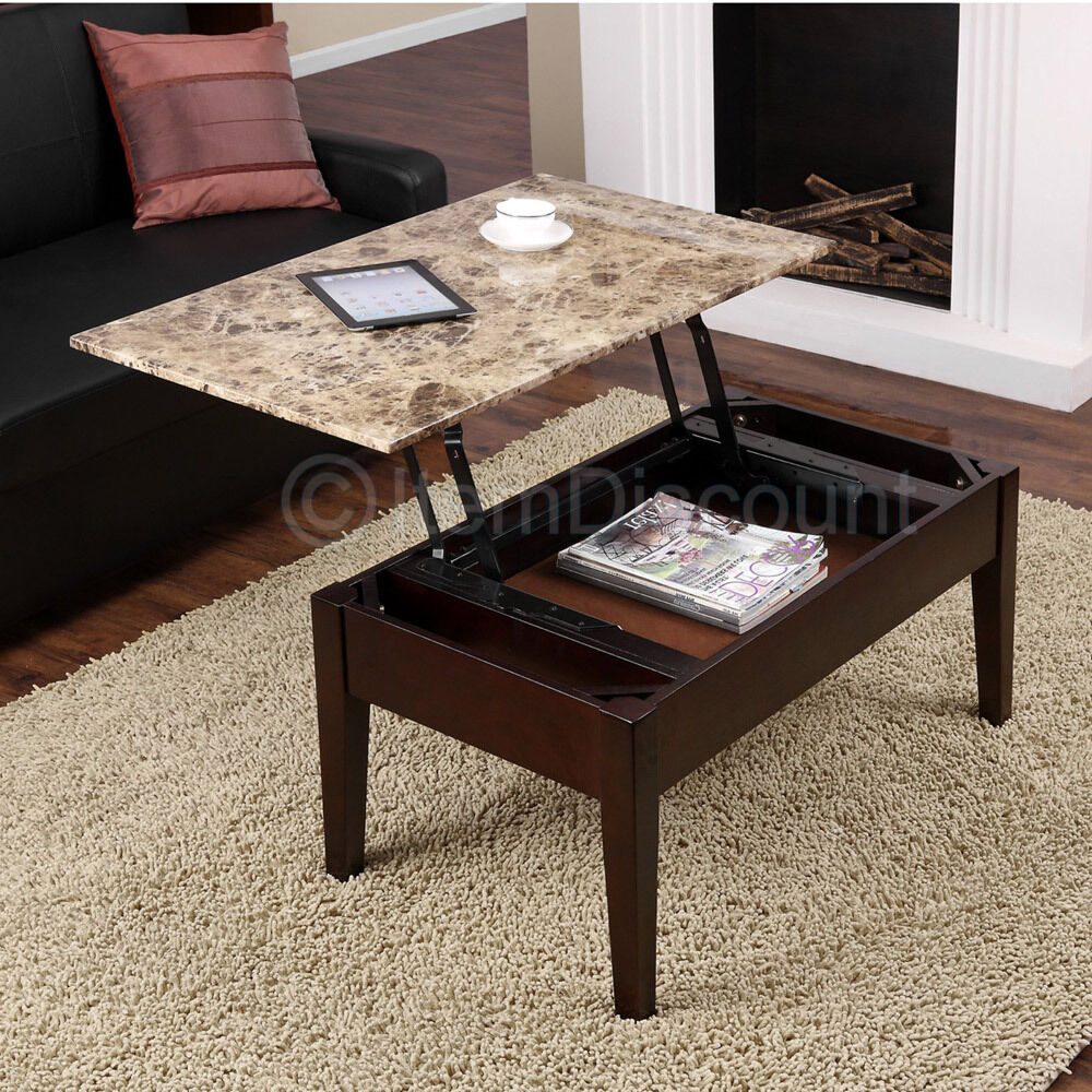 brown faux marble lift top coffee table laptop stand tv. Black Bedroom Furniture Sets. Home Design Ideas